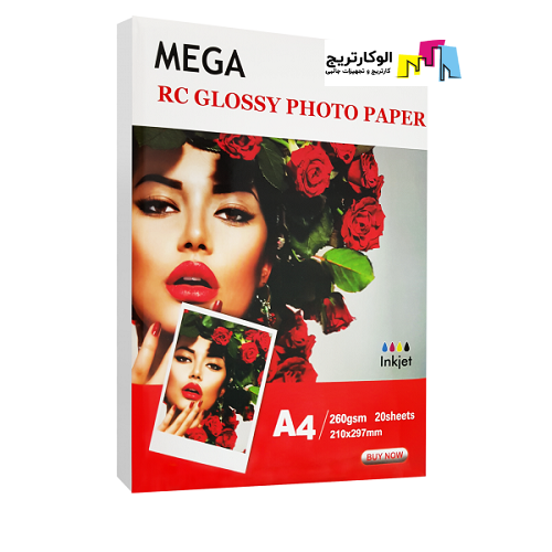 کاغذ فتوگلاسه مگا سایز A4 وزن 260 گرم 20 برگ Mega A4 Photo Glossy Paper
