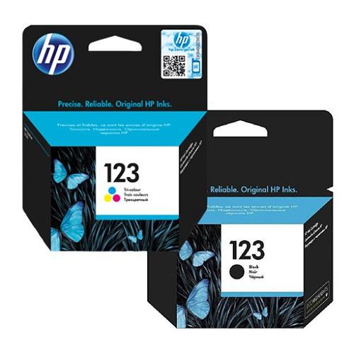 کارتریج جوهرافشان 123 اچ پی دوبل اورجینال HP 123 Tri-color-black