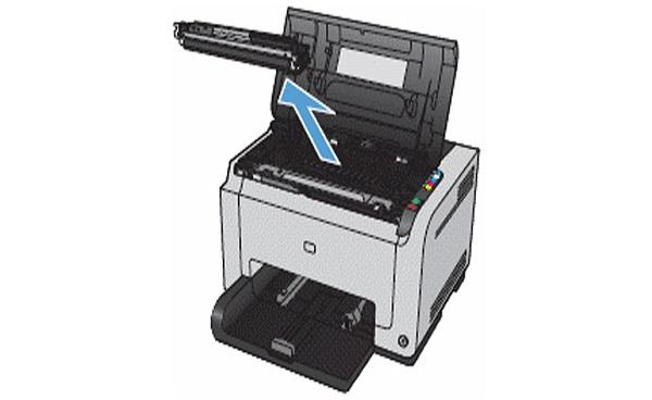 مرحله سوم نصب کارتریج پرینتر HP CP1025