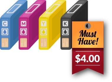 برچسب قیمت بر روی کاتریج جوهری در هر 4 رنگ استاندارد CMYK - تصویر یک کارتریج در حال مکش پول و دلار مانند حارو برقی - نمادی از ارزش و قیمت پرینتر - عکس استفاده شده در سایت الوکارتریج aloocartridge.com