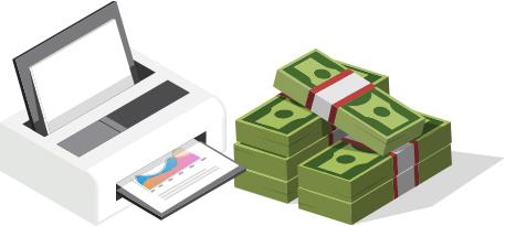 پرینتر سفید و پول_ عکس استفاده شده در سایت aloocartridge.com