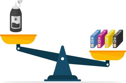 مقایسه ی قیمت کارتریج رنگی و مشکی_ عکس استفاده شده در سایت aloocartridge.com