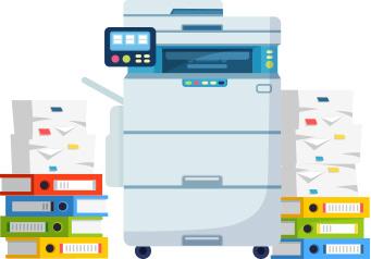 دستگاه چند منظوره اداری کپی و اسکن و پرینت به همراه انبوهی از کاغذ و داکیومنت_ عکس استفاده شده در سایت aloocartridge.com