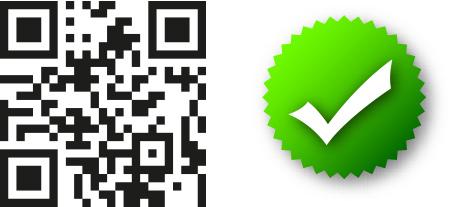 علامت کد QR و چک مارک سبز_ عکس استفاده شده در سایت aloocartridge.com