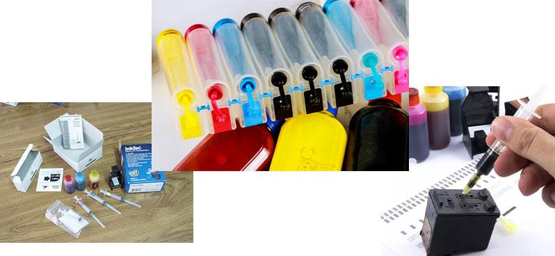 مخازن جوهر متصل به بطری هایی با رنگ های مختلف و شخصی در حال شارژ کارتریج و وسایل شارژ_ عکس استفاده شده در سایت aloocartridge.com